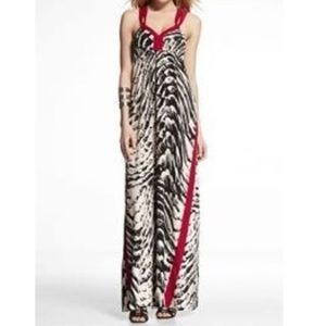 NWT Express Black & White Print with Red Trim Maxi